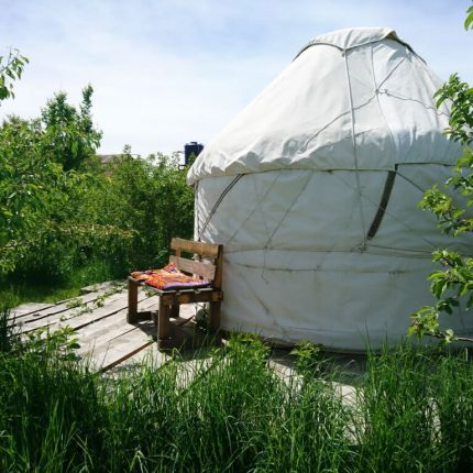 yurt with a bench sat on the silk road