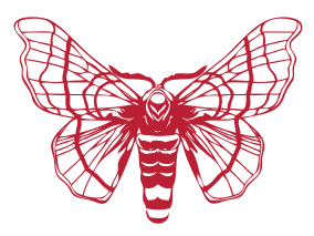 red and gray silk moth logo