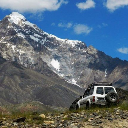 car parked near the pamir highway