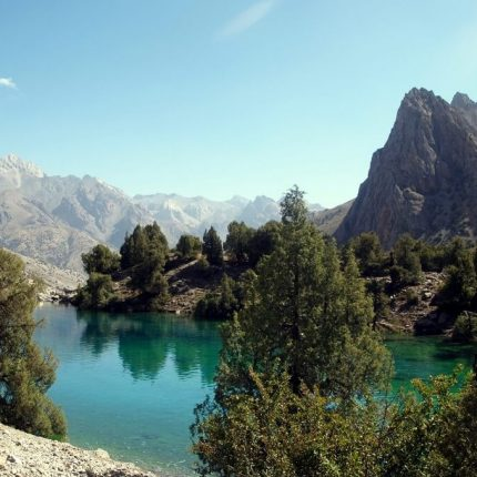 picturesque lagoon in tajikistan