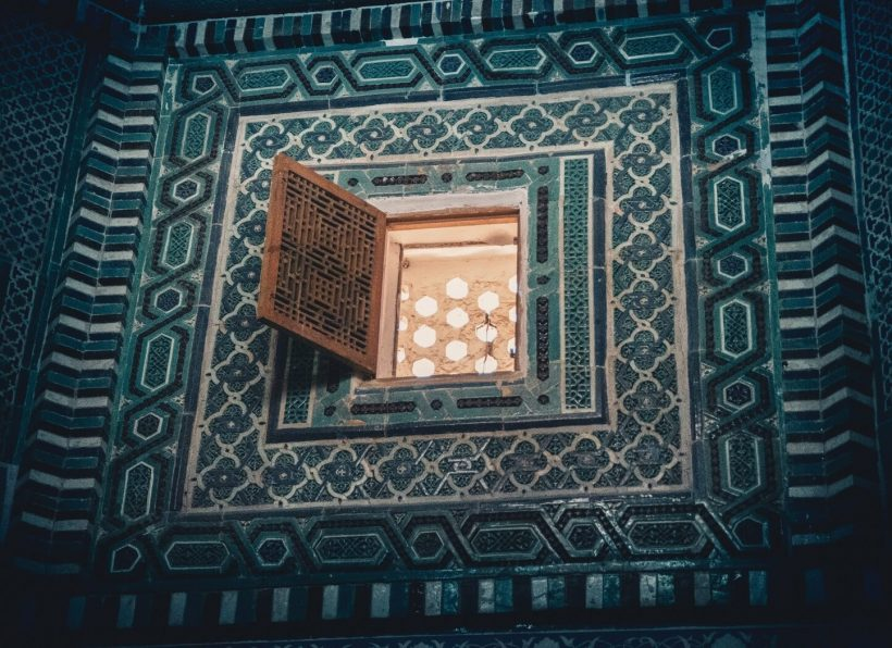 turquoise tiles window uzbekistan lights
